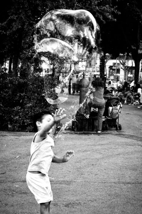 2014, Spain Barcelona, Kid, Street, Bubbles